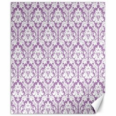 White On Lilac Damask Canvas 8  X 10  (unframed)