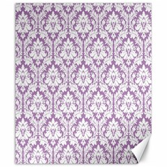 White On Lilac Damask Canvas 20  X 24  (unframed)