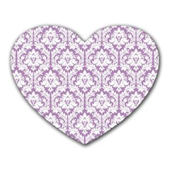 White On Lilac Damask Mouse Pad (heart)