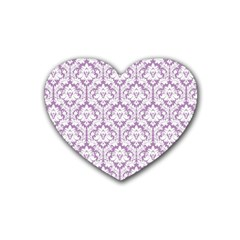 White On Lilac Damask Drink Coasters 4 Pack (heart)