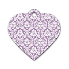 White On Lilac Damask Dog Tag Heart (Two Sided)