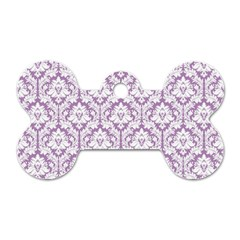 White On Lilac Damask Dog Tag Bone (Two Sided)