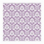 White On Lilac Damask Glasses Cloth (Medium) Front