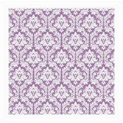 White On Lilac Damask Glasses Cloth (medium, Two Sided)