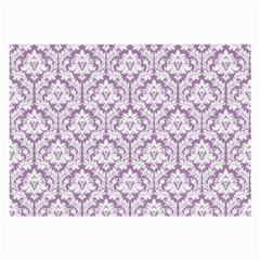 White On Lilac Damask Glasses Cloth (Large, Two Sided)