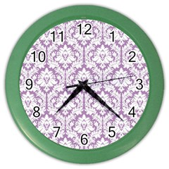 White On Lilac Damask Wall Clock (color)