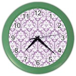 White On Lilac Damask Wall Clock (Color) Front