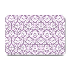 White On Lilac Damask Small Door Mat