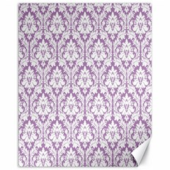 White On Lilac Damask Canvas 11  X 14  (unframed)