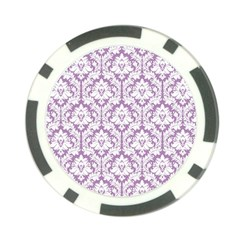 White On Lilac Damask Poker Chip