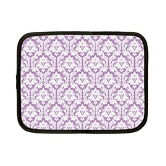 White On Lilac Damask Netbook Sleeve (Small)
