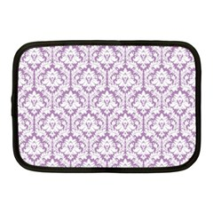 White On Lilac Damask Netbook Sleeve (Medium)
