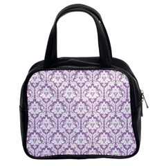 Lilac Damask Pattern Classic Handbag (Two Sides)