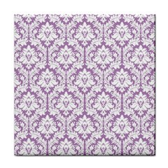 White On Lilac Damask Face Towel