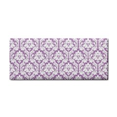 White On Lilac Damask Hand Towel