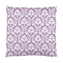 White On Lilac Damask Cushion Case (Two Sided)
