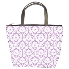 Lilac Damask Pattern Bucket Bag