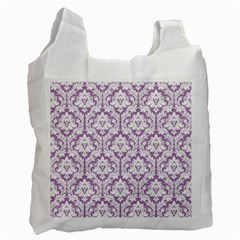 White On Lilac Damask White Reusable Bag (Two Sides)