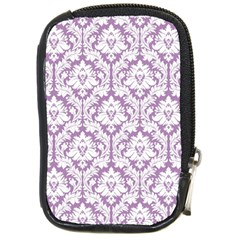 White On Lilac Damask Compact Camera Leather Case