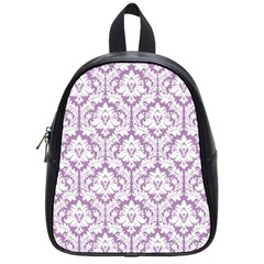 White On Lilac Damask School Bag (Small)