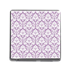 White On Lilac Damask Memory Card Reader with Storage (Square)