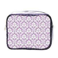 White On Lilac Damask Mini Travel Toiletry Bag (One Side)