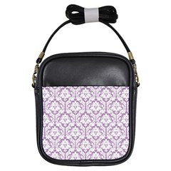Lilac Damask Pattern Girls Sling Bag