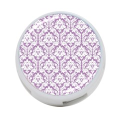 White On Lilac Damask 4-Port USB Hub (One Side)