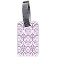 White On Lilac Damask Luggage Tag (Two Sides)