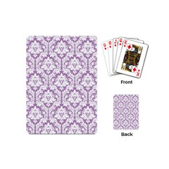 White On Lilac Damask Playing Cards (Mini)