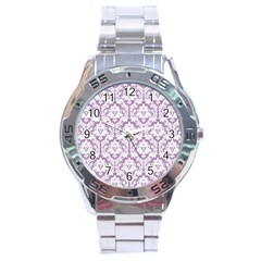 White On Lilac Damask Stainless Steel Watch