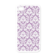 White On Lilac Damask Apple Iphone 4 Case (white)