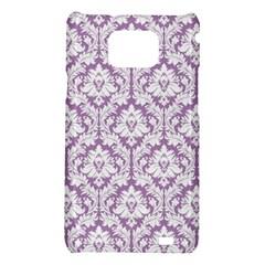 White On Lilac Damask Samsung Galaxy S II i9100 Hardshell Case