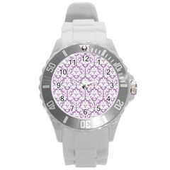 White On Lilac Damask Plastic Sport Watch (Large)