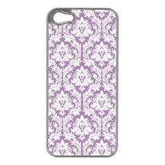 White On Lilac Damask Apple iPhone 5 Case (Silver)