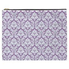Lilac Damask Pattern Cosmetic Bag (XXXL)