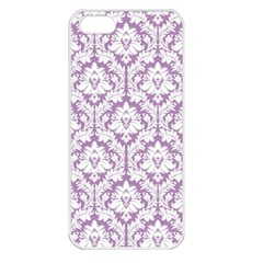 White On Lilac Damask Apple Iphone 5 Seamless Case (white)