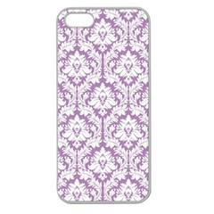 White On Lilac Damask Apple Seamless iPhone 5 Case (Clear)