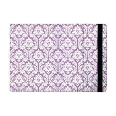 White On Lilac Damask Apple iPad Mini Flip Case