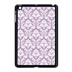White On Lilac Damask Apple Ipad Mini Case (black)
