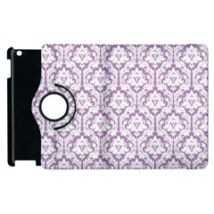 White On Lilac Damask Apple iPad 2 Flip 360 Case