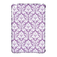 White On Lilac Damask Apple Ipad Mini Hardshell Case (compatible With Smart Cover)