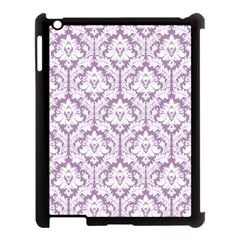 White On Lilac Damask Apple iPad 3/4 Case (Black)