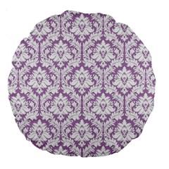 Lilac Damask Pattern Large 18  Premium Round Cushion