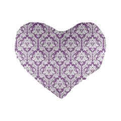 Lilac Damask Pattern Standard 16  Premium Heart Shape Cushion