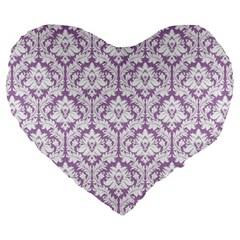 Lilac Damask Pattern Large 19  Premium Heart Shape Cushion