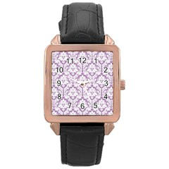 White On Lilac Damask Rose Gold Leather Watch