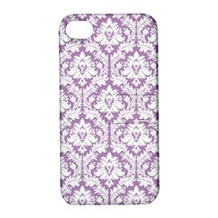 White On Lilac Damask Apple iPhone 4/4S Hardshell Case with Stand
