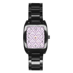 White On Lilac Damask Stainless Steel Barrel Watch