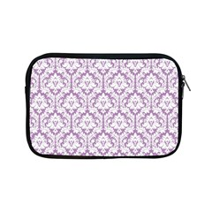 White On Lilac Damask Apple Ipad Mini Zippered Sleeve